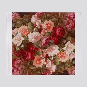 Floral Pink Roses Throw Blanket