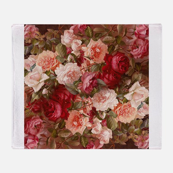 Floral Pink Roses Throw Blanket