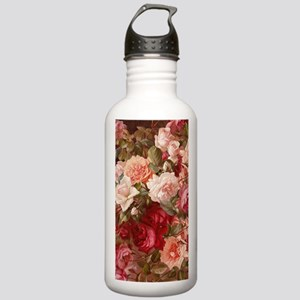 Floral Pink Roses Water Bottle
