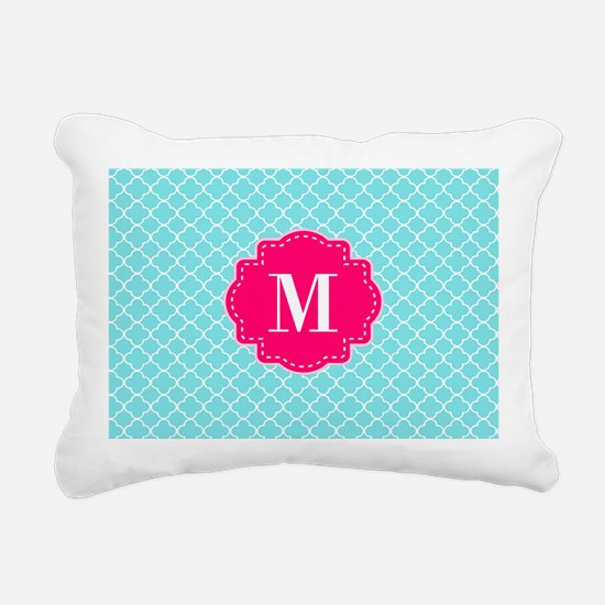Blue Pink Quatrefoil Monogram Rectangular Canvas P