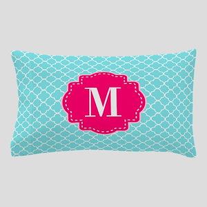 Blue Pink Quatrefoil Monogram Pillow Case