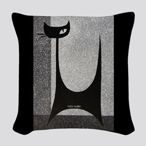 Retro Mid Century Jazz Cat Woven Throw Pillow