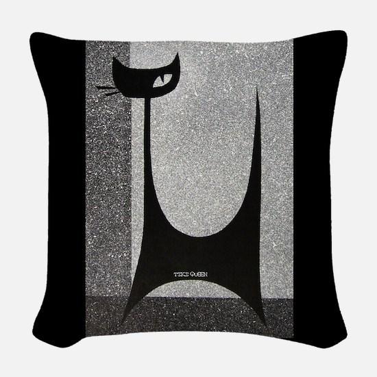 Retro Mid Century Jazz Cat Woven Throw Pillow