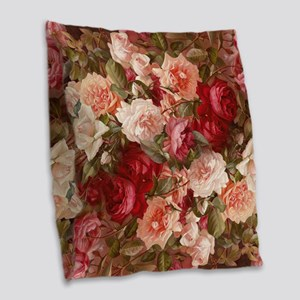 Floral Pink Roses Burlap Throw Pillow