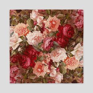 Floral Pink Roses Queen Duvet