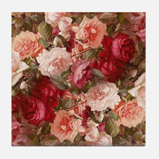 Floral Pink Roses Tile Coaster
