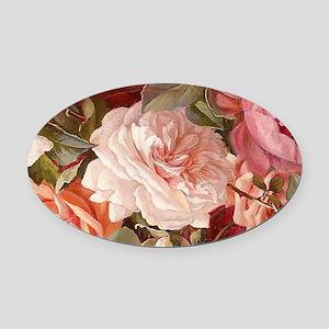 Floral Pink Roses Oval Car Magnet