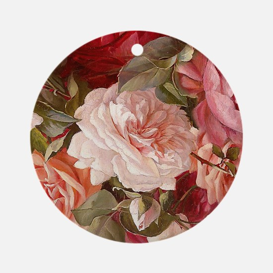 Floral Pink Roses Ornament (Round)