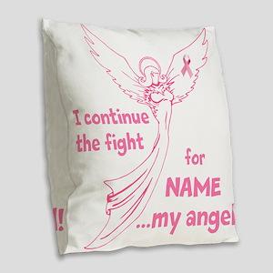 Pink Angel Burlap Throw Pillow