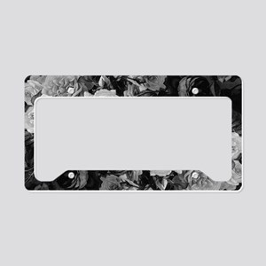 Floral Grey Roses License Plate Holder