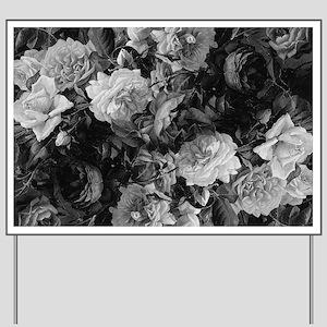Floral Grey Roses Yard Sign