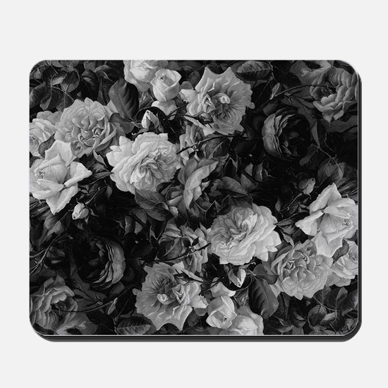 Floral Grey Roses Mousepad