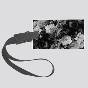 Floral Grey Roses Luggage Tag