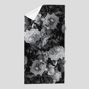 Floral Grey Roses Beach Towel