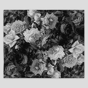 Floral Grey Roses King Duvet