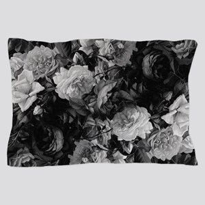 Floral Grey Roses Pillow Case