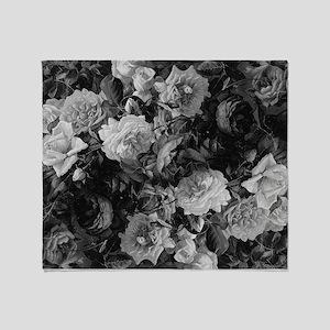 Floral Grey Roses Throw Blanket