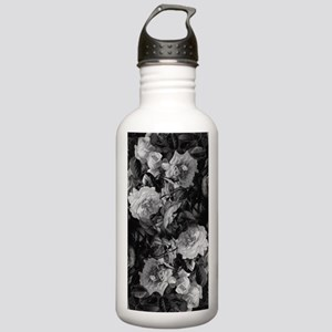 Floral Grey Roses Water Bottle