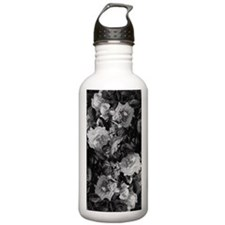 Floral Grey Roses Water Bottle