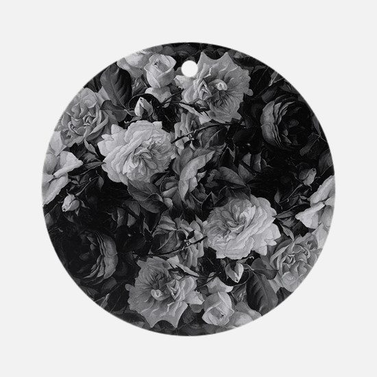 Floral Grey Roses Ornament (Round)