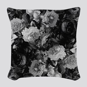 Floral Grey Roses Woven Throw Pillow