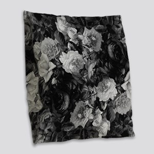 Floral Grey Roses Burlap Throw Pillow