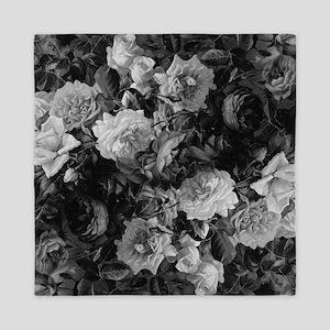 Floral Grey Roses Queen Duvet