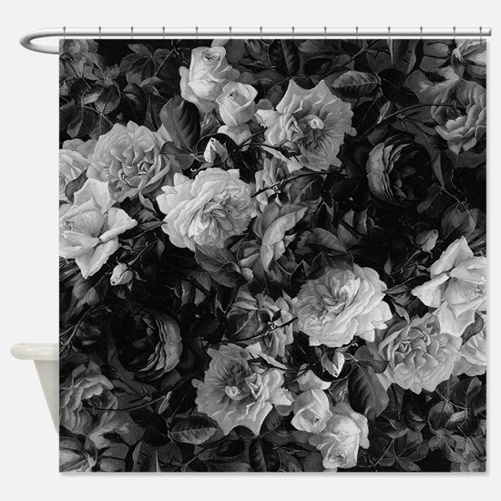 Floral Grey Roses Shower Curtain