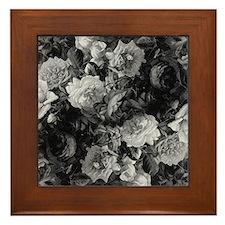 Floral Grey Roses Framed Tile