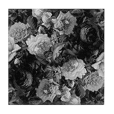 Floral Grey Roses Tile Coaster