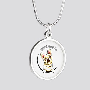 Fawn Frenchie IAAM Silver Round Necklace