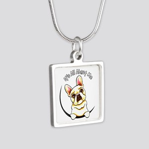 Fawn Frenchie IAAM Silver Square Necklace