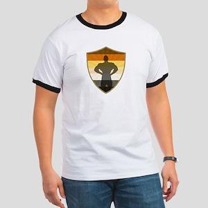 Bear Pride Colors Muscle Bear Shield T-Shirt