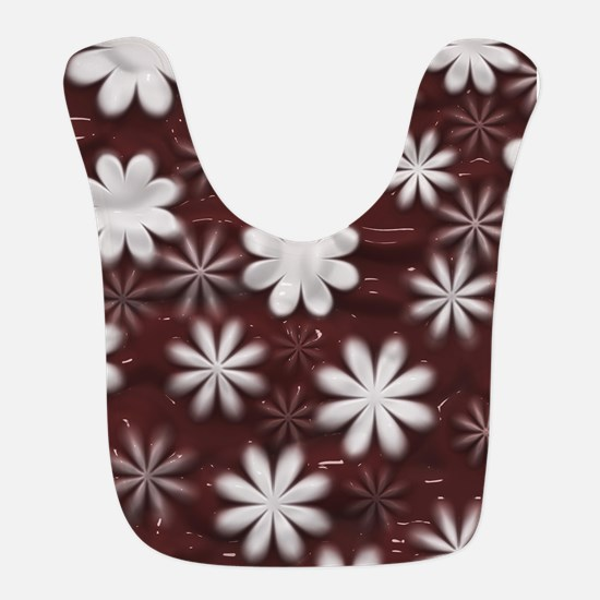 Melted Chocolate and Milk Flowers Pattern Bib