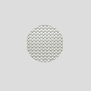 Sweet Grey Hearts White Mini Button