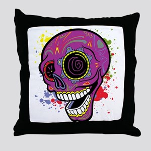 Purple Dia de Los Muertos Throw Pillow