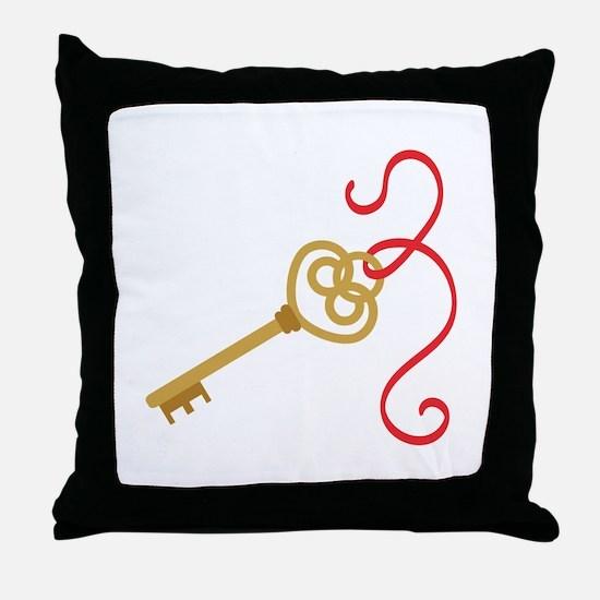 Secret Golden Magic Key Throw Pillow