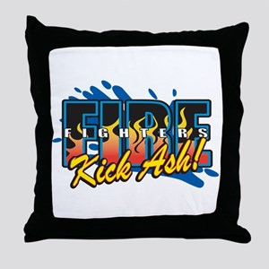 Firefighters Kick Ash! Throw Pillow
