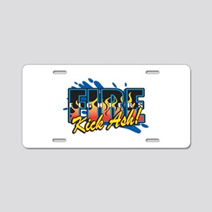 Firefighters Kick Ash! Aluminum License Plate
