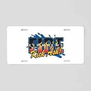 Firefighters Kick Ash! Aluminum License Plate