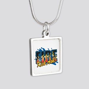 Firefighters Kick Ash! Silver Square Necklace