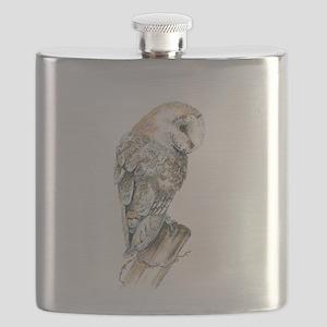 Watercolor Barn Owl Bird Nature Art Flask