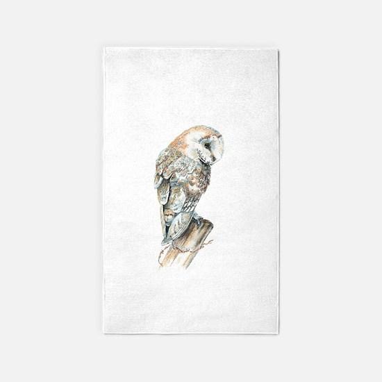 Watercolor Barn Owl Bird Nature Art 3'x5' Area Rug
