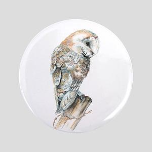 """Watercolor Barn Owl Bird Nature Art 3.5"""" Butt"""