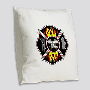 Volunteer Firefighter Burlap Throw Pillow