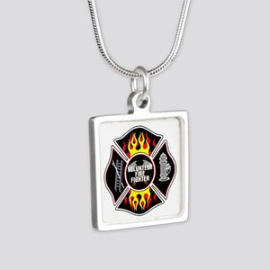Volunteer Firefighter Silver Square Necklace