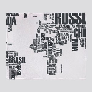 Typography Map Throw Blanket