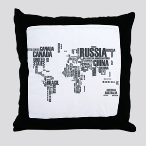 Typography Map Throw Pillow
