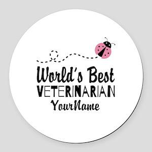 World's Best Veterinarian Round Car Magnet
