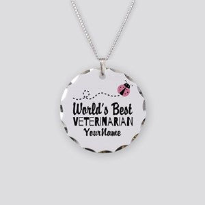 World's Best Veterinarian Necklace Circle Charm